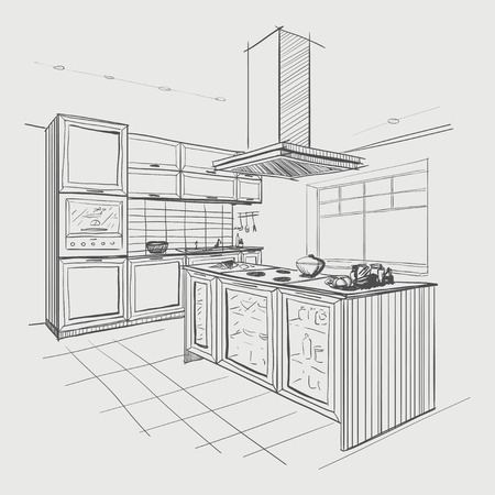 draw: Interior sketch of modern kitchen with island.