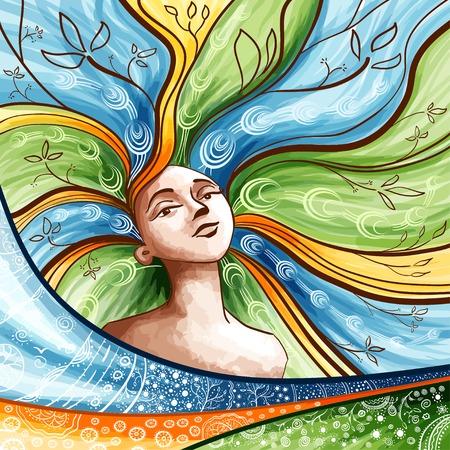 ragazza giovane bella: Illustrazione del concetto di primavera. Bella ragazza con i capelli. Vettoriali
