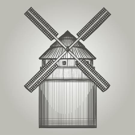 wind wheel: Illustration of vintage  windmill. Illustration