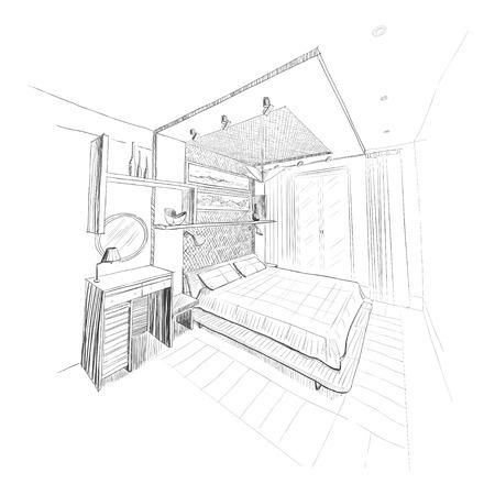 Bedroom interior sketch. Vector