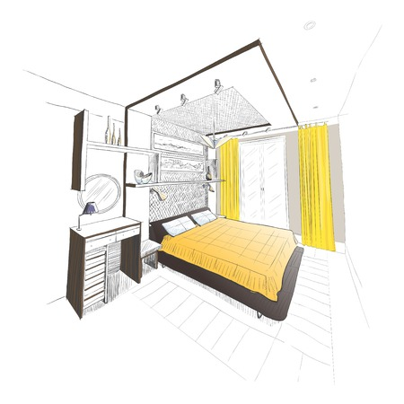 architectural plan: Bedroom interior sketch.