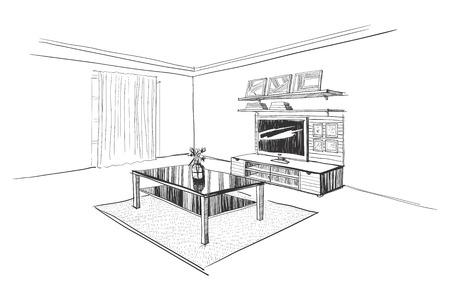 Illustration of TV wall in interior.