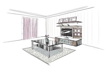 tv wall: Illustration of TV wall in interior. Hand sketch.