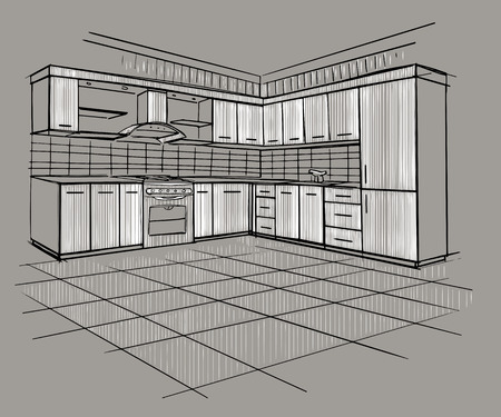 drawing a plan: Modern interior sketch of corner kitchen. Design house. Architecture. Illustration