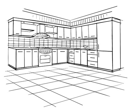 draw: Modern interior sketch of corner kitchen. Design house. Architecture. Illustration