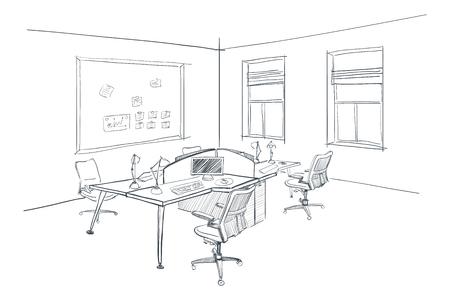 successfull: Illustration of open space office. Interior design.