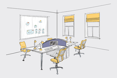 architectural team: Illustration of open space office. Interior design.