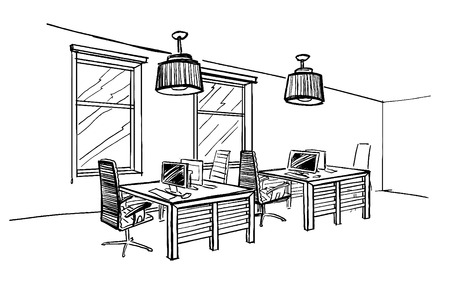Illustration of open space office. Interior design.