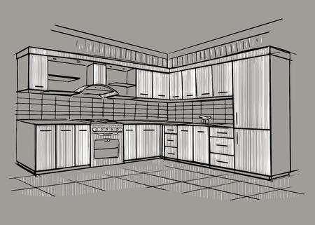 modern interior: Modern interior sketch of corner kitchen. Design house. Architecture. Illustration