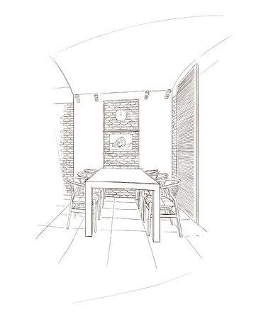 Dining room interior with table in dutch style. Ilustração