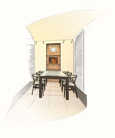 dining: Dining room interior with table in dutch style. Illustration