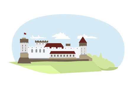ancient civilization: Illustration of medieval castle located in Northern Europe.
