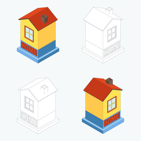dwelling: Vector illustration of dwelling house. Home concept.