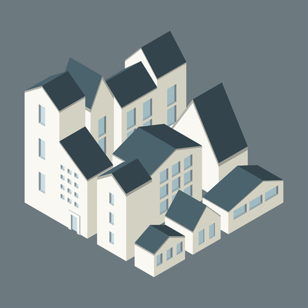 suburbia: Vector illustration of city  district concept. Isometric style.