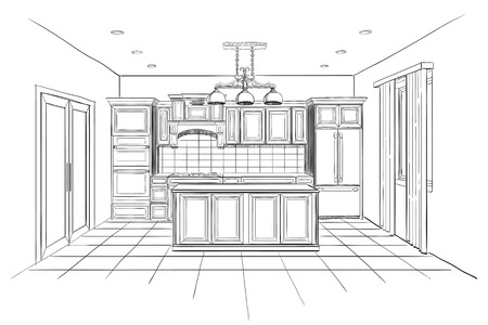 modern interieur: Interior sketch of modern kitchen with island.