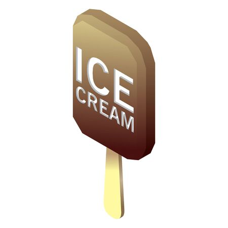 wooden stick: Illustration of ice cream with wooden stick. Isometric design. Illustration
