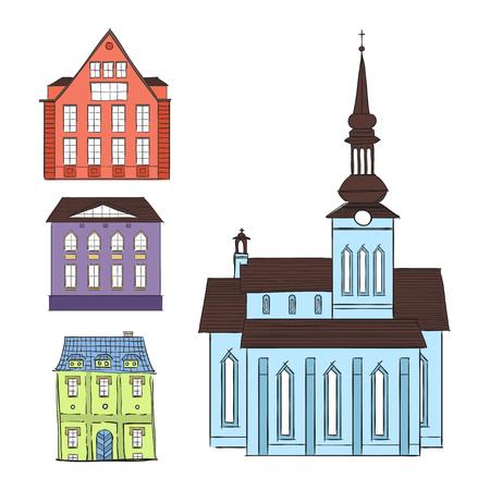 evropský: Illustration of old building in  European city. Ilustrace