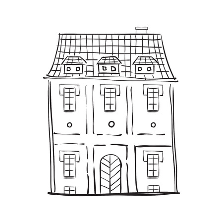 landlord: Illustration of old building in  European city. Illustration