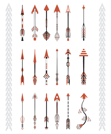 red arrows: Hand drawn arrows graphic set. Indian culture. Illustration