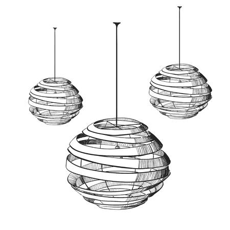 Vector illustration of the suspended lamp. Ilustração