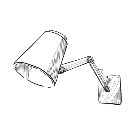 Hand drawn sketch of the wall lamp.