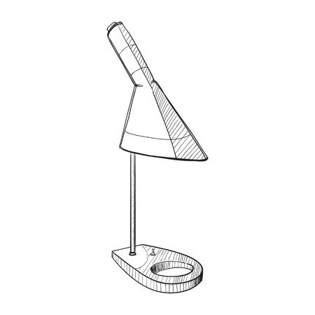 Ilustración vectorial de la lámpara de mesa.