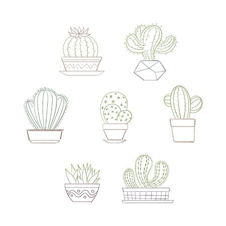 Cute succulent or cactus plant set.