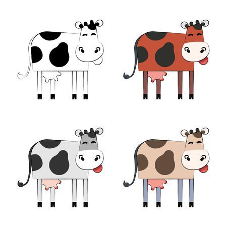 Cute cartoon cow set. Illustration