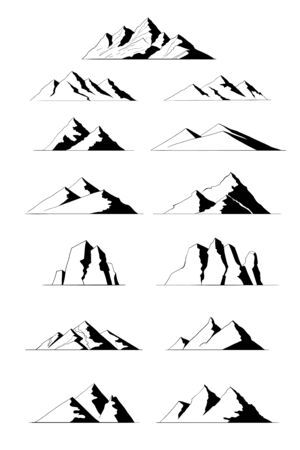 Different mountain ranges silhouette collection set