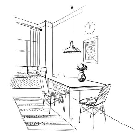 Illustration of kitchen with table. Ilustração