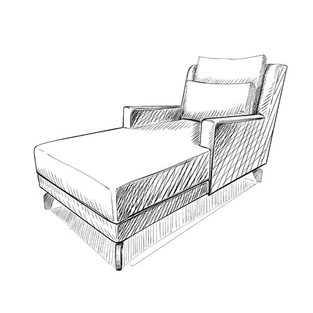 Vector illustration of the chair in sketch style.