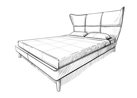 Ilustración de vector de cama doble