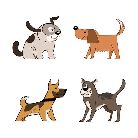 Cute funny cartoon dogs illustration.