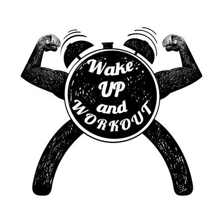 Workout time. Vector illustration.