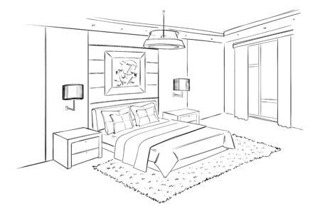 Conception de croquis d'intérieur de vecteur de chambre à coucher. Vecteurs