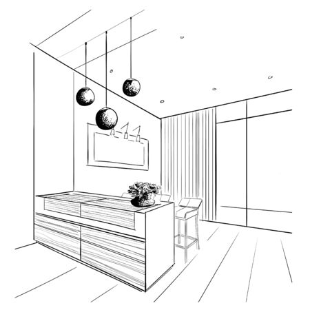 Living room interior sketch with bar table.