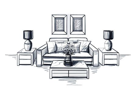 Living room interior sketch with coffee table.
