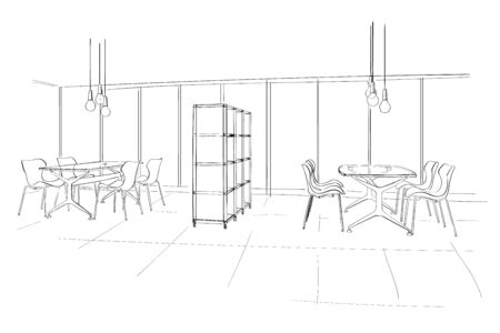Illustration of open space interior. Modern office.