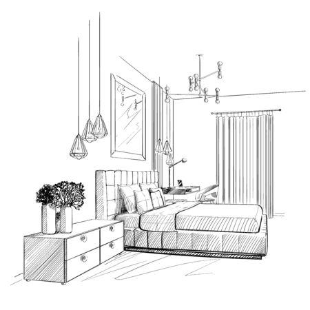 Bedroom interior sketch. Vector illustration Ilustração
