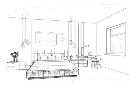 Bedroom interior sketch Ilustração