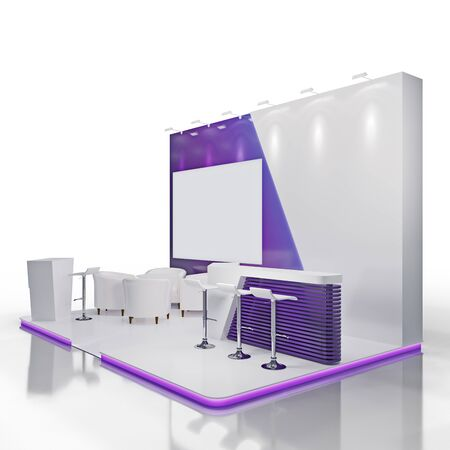 Exhibtion stand with big screen. Mockup.