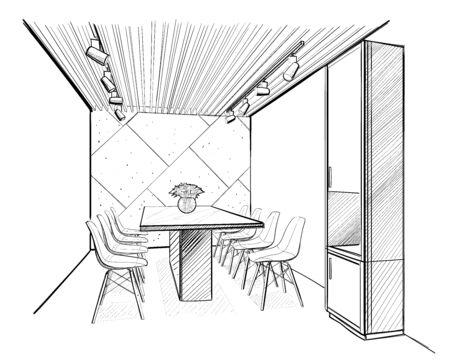 Boarding room. Interior sketch.