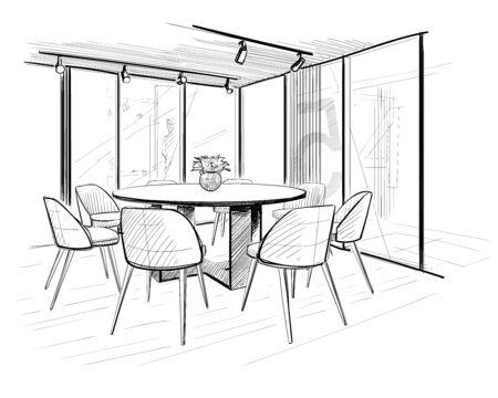 Boarding room. Interior sketch. Ilustración de vector