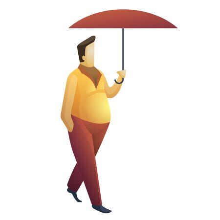 Man under umbrella. Flat illustration. Ilustração