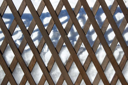 superstructure: wooden fence on a white background Stock Photo