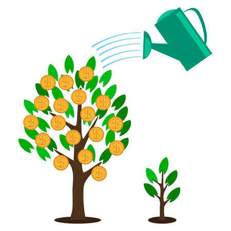 Vector money tree concept in flat style - green plant with coins on the branches - investment concept Vector
