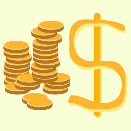 dollar coins: Illustration of Golden Dollar Coins Vettoriali