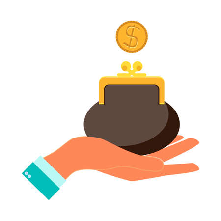 billfold: Hand holding a wallet or purse full of money with banknotes and gold dollar coins