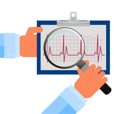 atrial: Heart checkup, magnifying glass on an ecg diagram
