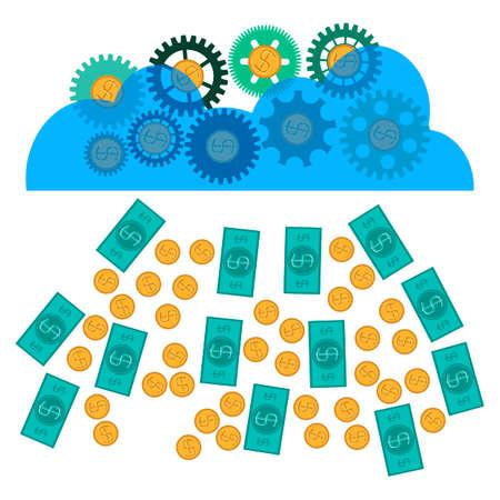 lottery win: money falling from the sky, gears earn money, money rain. Business success, Luck, Big profit, Lottery win.